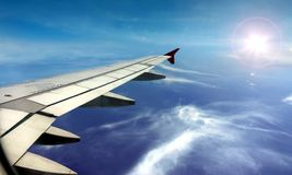 Airplane wing windows view Royalty Free Stock Image