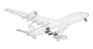 Airplane in wire-frame style Royalty Free Stock Photos