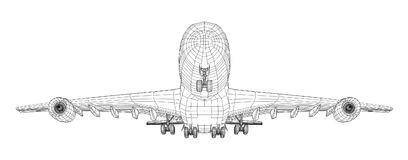 Airplane in wire-frame style. EPS 10 vector format. Vector rendering of 3d Stock Photos