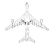 Airplane in wire-frame style. EPS 10 vector format. Vector rendering of 3d Stock Image