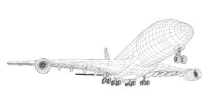 Airplane in wire-frame style. EPS 10 vector format. Vector rendering of 3d Stock Photography