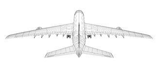 Airplane in wire-frame style. Rear view. EPS 10 vector format. Vector rendering of 3d Stock Image