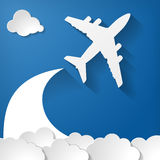 Airplane With Paper Clouds On A Blue Air Background Stock Image