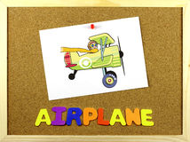 Airplane word on a corkboard Royalty Free Stock Photography