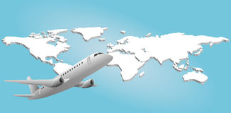 Airplane in world Stock Photography