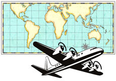 Airplane with world map Royalty Free Stock Image