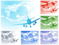 Airplane_on_world_map_bacground Royalty Free Stock Photos