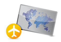 Airplane and world map board Stock Image