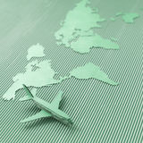 Airplane and world map Royalty Free Stock Photos