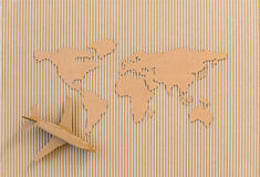 Airplane and world map Royalty Free Stock Photography