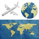 Airplane and world map  recycled paper craft Royalty Free Stock Photo