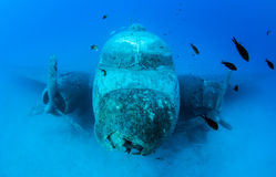 Airplane Wreck Diving. Picture shows a airplane wreck in Turkey stock images