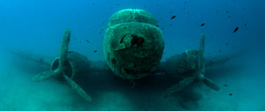 Airplane Wreck Diving. Picture shows a airplane wreck in Turkey royalty free stock photos