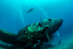 Airplane Wreck Diving. Picture shows a airplane wreck in Turkey royalty free stock photo
