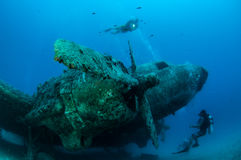 Airplane Wreck Diving. Picture shows a airplane wreck in Turkey stock photo