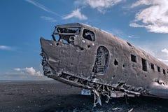 Airplane-wreck, Iceland Stock Photos
