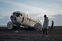 Airplane wreck in Iceland Royalty Free Stock Photo