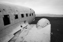 Airplane wreck, Vik, Iceland Royalty Free Stock Images