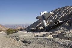 Airplane Wreckage. In the desert royalty free stock photo