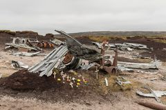 Airplane wreckage. The wreckage of the B-29 Superfortress at the crash site in Peak District, England. The bomber crashed in 1948 Stock Photography