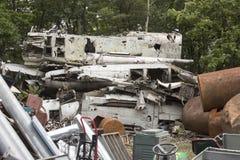 Airplane wreckage in junkyard Stock Images
