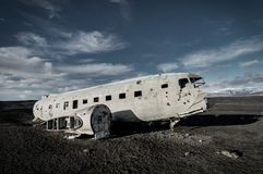 Airplane wreckage Solheimasandur Iceland on black sand beach Royalty Free Stock Images
