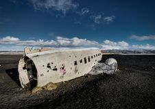 Airplane wreckage Solheimasandur Iceland on black sand beach Royalty Free Stock Photography