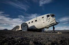 Airplane wreckage Solheimasandur Iceland on black sand beach. Airplane wreckage, Iceland The remains of a Douglas R4D Dakota DC-3 C 117 from the US navy.. This Stock Photo