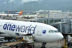 Airplane in yard, Hongkong Airport Stock Photos