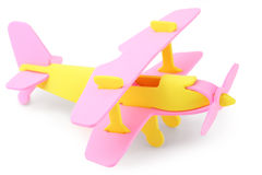 Airplane yellow and pink toy isolated Stock Photo