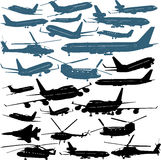 Airplanes. Vector illustrations of passenger airliners, military helicopters Royalty Free Stock Photo