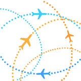Airplanes. On their destination routes Royalty Free Stock Image