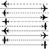 Airplanes. Ten different airplane silhouettes with flying route Stock Photography