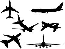 Airplanes. Six generic plane silhouettes, on white background Royalty Free Stock Photos