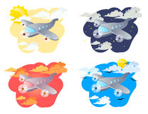 Airplanes. Set of four illustrations cartoon airplanes on a clouds background royalty free illustration