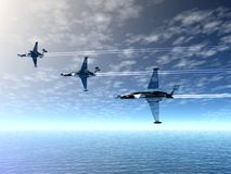 Airplanes. And sea. 3D landscape Stock Photos