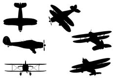 Airplanes. Six generic plane silhouettes, on white background Royalty Free Stock Image
