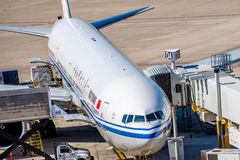 Airplanes on the active ramp at IAH airport Royalty Free Stock Image