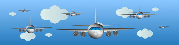 Airplanes in the air - air show royalty free illustration