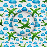 Airplanes in the air with blue clouds Stock Photography