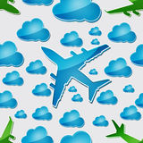 Airplanes in the air with blue clouds Royalty Free Stock Image