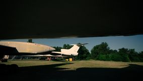 Airplanes on the airfield. Summer season. royalty free stock photography