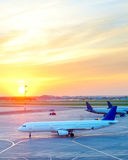 Airplanes at airport Royalty Free Stock Photography