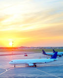 Airplanes at airport Royalty Free Stock Photo