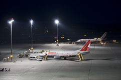 Airplanes at the airport of Vienna Royalty Free Stock Images