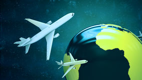 Airplanes around the globe. Royalty Free Stock Photography