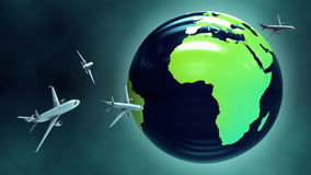 Airplanes around the globe. Stock Photography