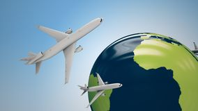 Airplanes around the globe. Royalty Free Stock Image
