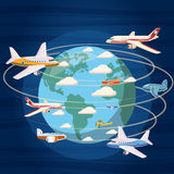 Airplanes around the world concept, cartoon style Royalty Free Stock Photo