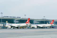 Airplanes in the Ataturk airport, Istanbul, Turkey Stock Images